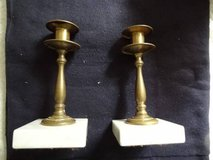 vintage brass candlesticks/marble base in Spring, Texas